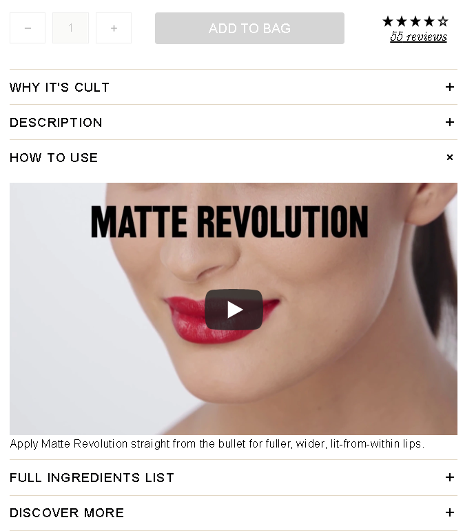Ecommerce content - Cult Beauty example