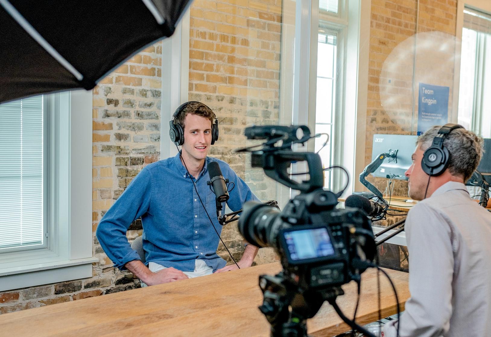 talking on camera
